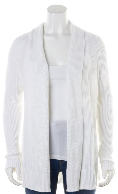 VINCE Bright White Cotton Knit Long Sleeve Open Cardigan Sweater