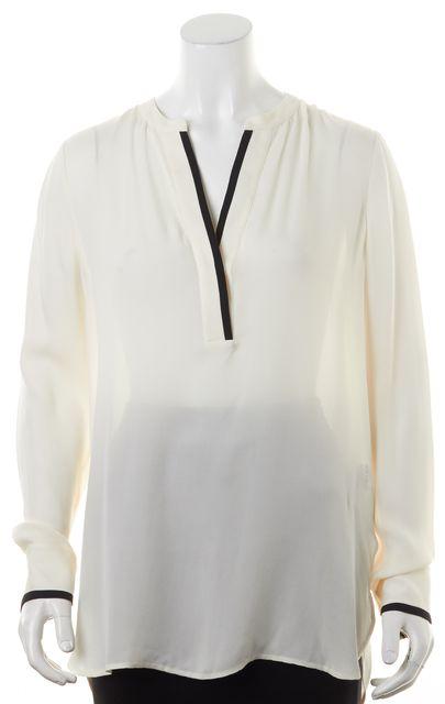 VINCE Ivory Black Trim Sheer Crepe Silk Long Sleeve Blouse