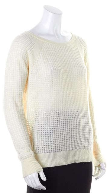 VINCE Ivory Cashmere Open Knit Crewneck Sweater