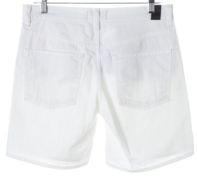 VINCE Optic White Distressed 5 Pocket Rolled Denim Shorts