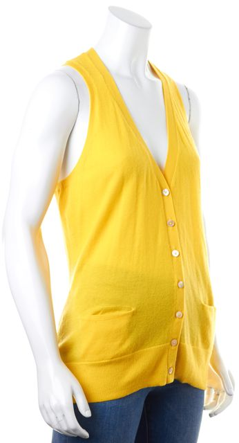 VINCE Yellow Cashmere Thin Knit Sleeveless V-Neck Vest Sweater
