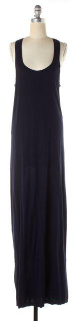 VINCE Navy Blue Cotton Jersey Sleeveless Maxi Scoop Neck Tank Dress