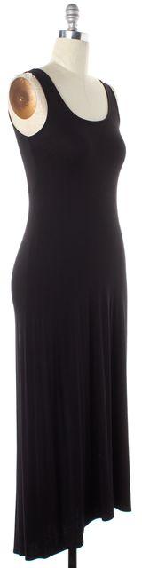 VINCE Black Solid Viscose Sleeveless Tank Maxi Dress