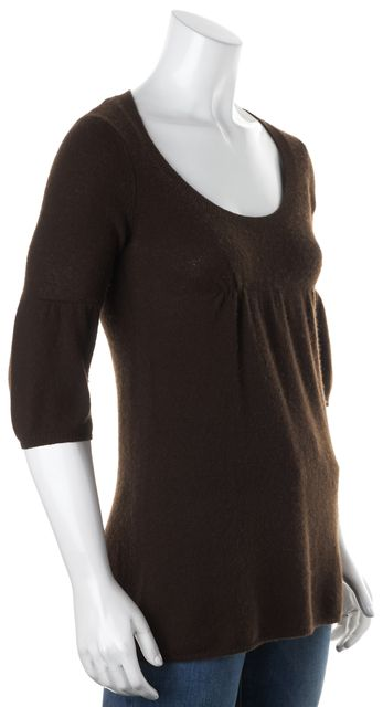 VINCE Chocolate Brown Cashmere Scoop Neck Empire Waist Knit Top