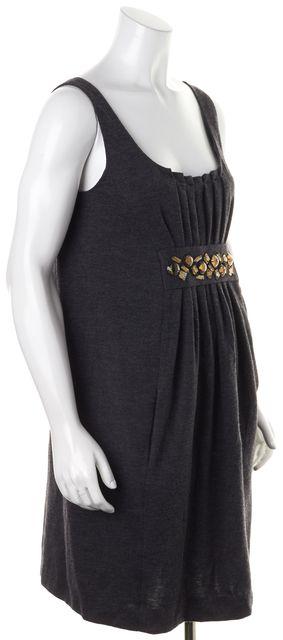VINCE Gray Jewel Embellished Wool Sleeveless Empire Waist Dress