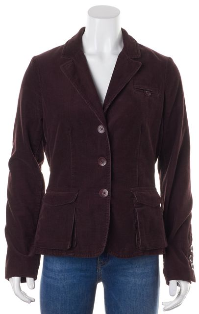 VINCE Burgundy Red Cotton Corduroy Pocket Front Three-Button Blazer Jacket