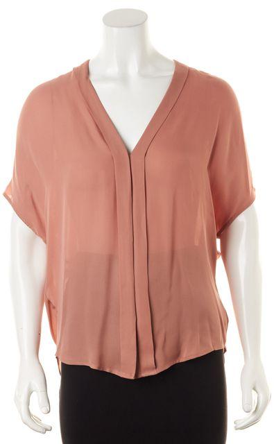 VINCE Dusty Pink Semi Sheer Crepe Silk V-Neck Short Dolman Sleeve Blouse