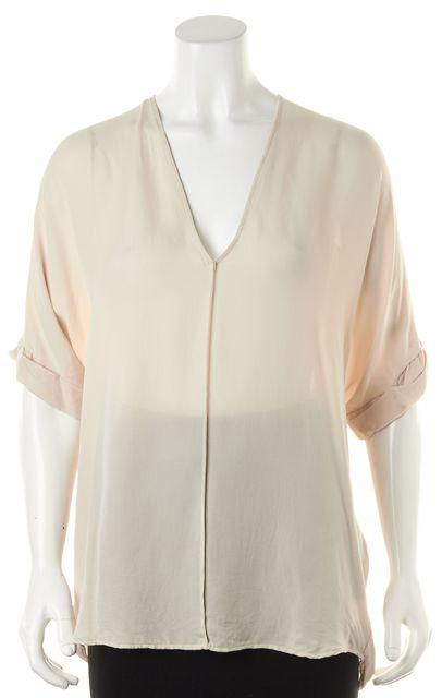 VINCE Beige Silk V-Neck Oversized Short Sleeve Blouse