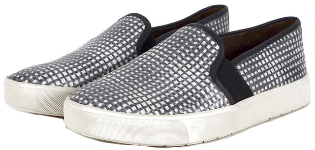 VINCE Black White Geometric Printed Leather Slip-On Sneakers