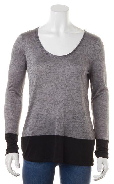 VINCE Gray Black Colorblock Rayon Knit Long Sleeve Top