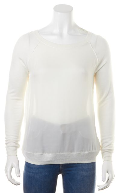 VINCE White Sheer Silk Front Rayon Back Long Sleeve Blouse