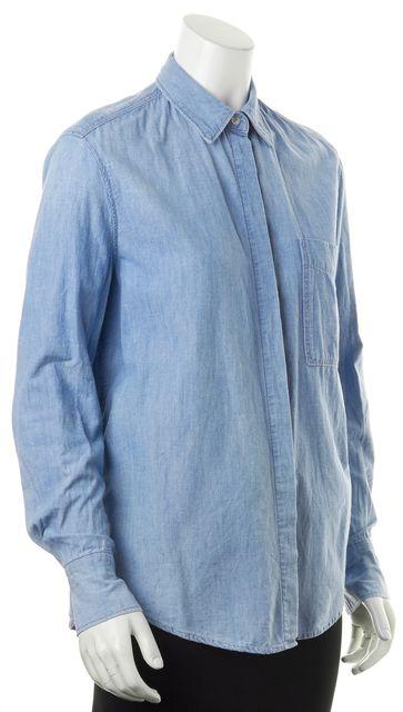 VINCE Blue Light Wash Denim Long Sleeve Button Down Shirt