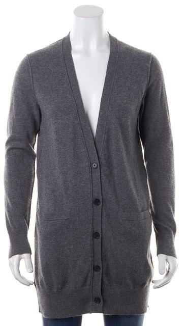 VINCE Gray Cashmere V-Neck Button Up Pocket Front Cardigan