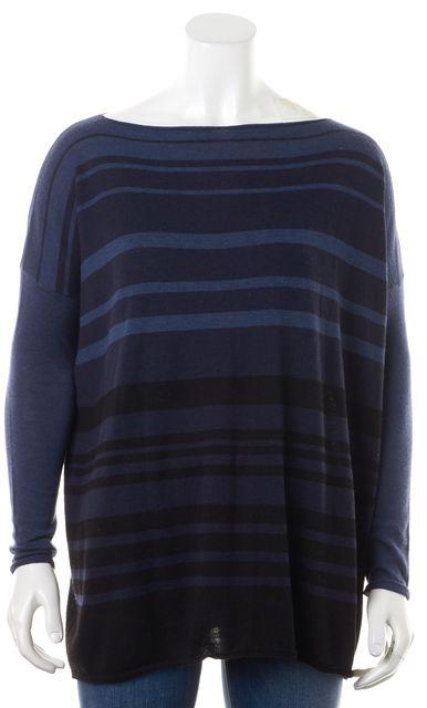 VINCE Navy Blue Striped Merino Wool Knit Boat Neck Sweater