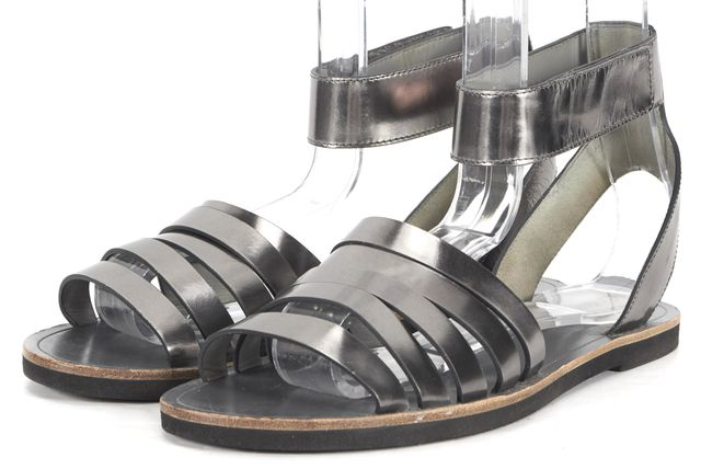 VINCE Metallic Gray Leather Ankle Strap Flat Sandals