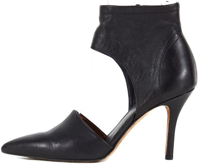 VINCE Solid Black Leather Pointed Toe Ankle Pumps