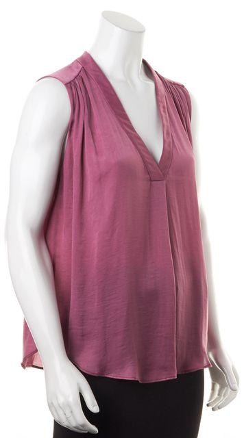VINCE Magenta Purple Satin Silk Sleeveless V-Neck Blouse