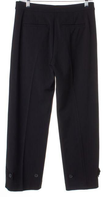 VINCE Black Button Trim Wide Leg Cropped Trousers Dress Pants