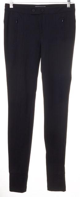 VINCE Black Stretch Ponte Jersey Faux Zip Pockets Skinny Leggings Pants