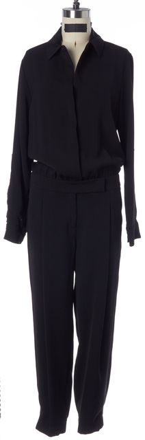 VINCE Black Long Roll-Tab Sleeves Button Down Blouson Jogger Jumpsuit