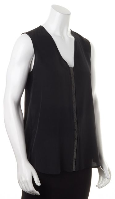 VINCE Black Silk Perforated Leather Trim Sleeveless Blouse