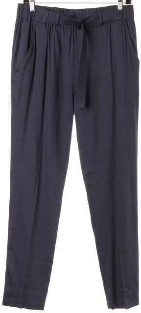 VINCE Blue Linen Elastic Belted Casual Pants