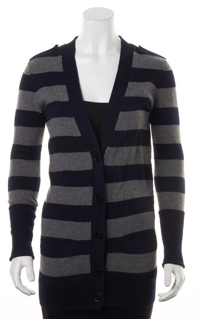 VINCE Navy Blue Gray Striped Cashmere Knit Button Up Cardigan