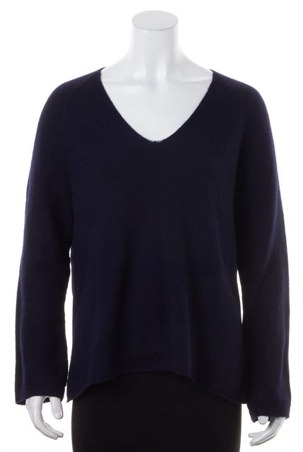 VINCE Navy Blue Cashmere Long Sleeves Relaxed Fit V-Neck Sweater