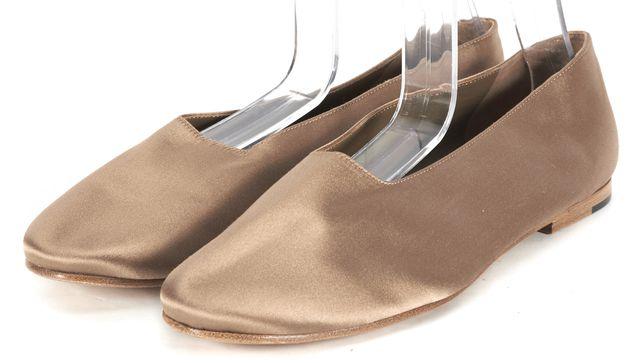 VINCE Beige Satin Round Toe Ballet Flats