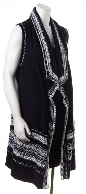 VINCE Navy Blue White Embroidered Sleeveless Open Cardigan