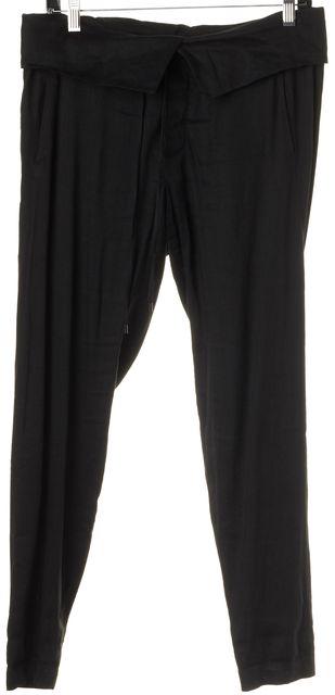 VINCE Black Linen Drawstring High-Waist Casual Pants