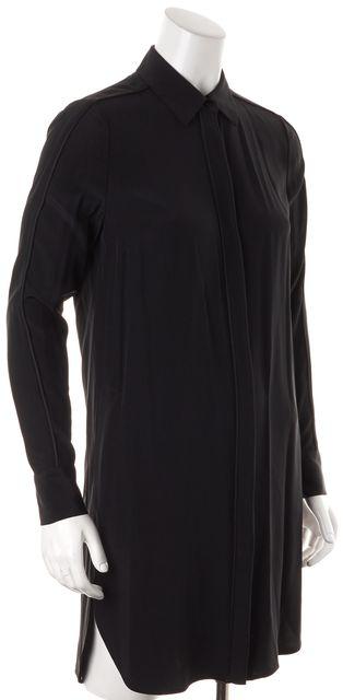 VINCE Black Solid Silk Long Sleeve Button Down Shirt Dress