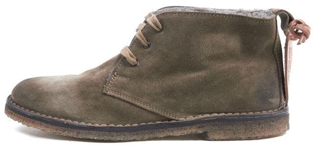 VINCE Olive Green Suede Leather Sheep Fur Lined Lace Ups Ankle Boots