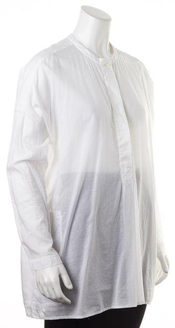 VINCE White Cotton Long Sleeve Semi Sheer Oversized Blouse Top
