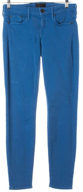 VINCE Bright Blue Riley Mid-Rise Skinny Jeans
