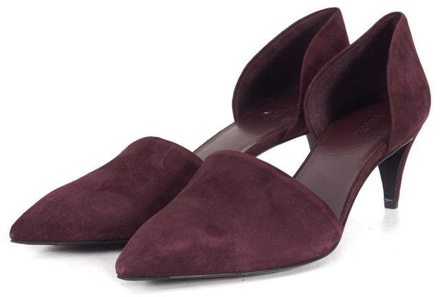 VINCE Plum Purple Suede Leather Pointed Toe Mid-Heel Pumps