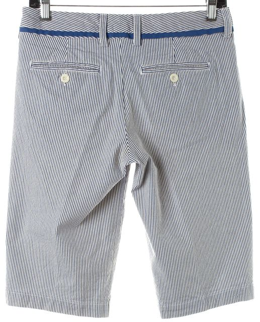 VINCE Blue White Striped Cotton Casual Summer Shorts