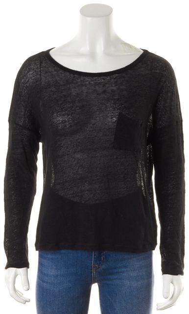 VINCE Black Sheer Linen Front Pocket Long Sleeve Knit Crop Top
