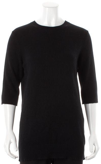 VINCE Black Solid Cashmere Knit Crewneck Sweater