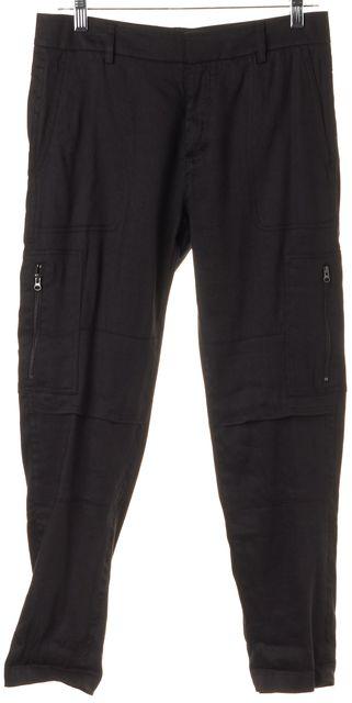 VINCE Black Linen Cropped Casual Cargo Pants