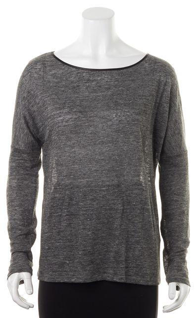 VINCE Medium Heather Gray Leather Neck Trim Linen Long Sleeve Knit Top
