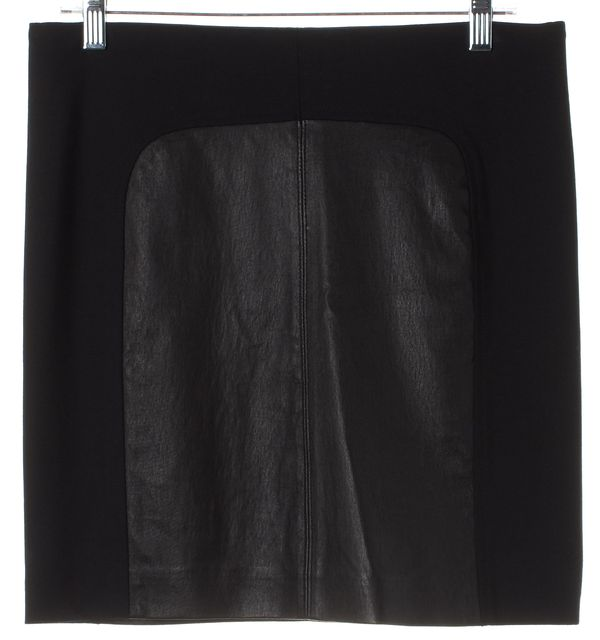 VINCE Black Solid Leather Two Tone Pencil Skirt