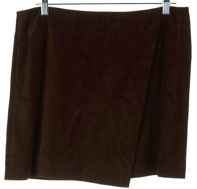 VINCE Dark Brown Suede Leather Wrap Mini Skirt