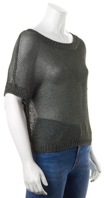 VINCE Metallic Green Crewneck Short Sleeve Sheer Knit Top