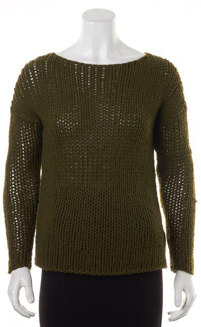 VINCE Dark Olive Green Wool Open Knit Crewneck Sweater