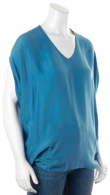 VINCE Blue Silk Short Dolman Sleeves V-Neck Tunic Blouse Top