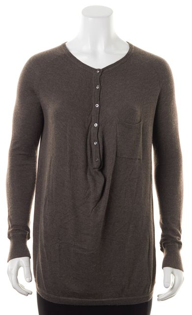VINCE Heather Brown Front Pocket Half Button Knit Henley Top