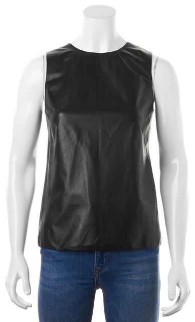 VINCE Black Leather Silk Trim Sleeveless Blouse Top