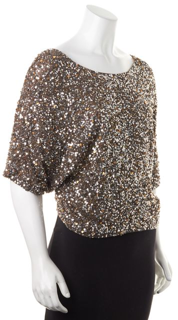VINCE Brown Sequin Embellished Dolman Sleeve Blouse Top