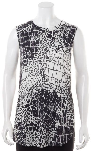 VINCE White Black Animal Print Crewneck Sleeveless Basic T-Shirt